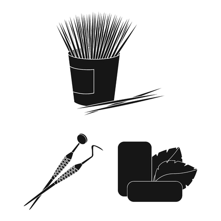 Dental care black icons in set collection for design. Care of teeth bitmap symbol stock web illustration.