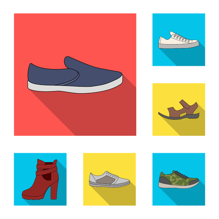 Different shoes flat icons in set collection for design. Men and women shoes bitmap symbol stock web illustration.