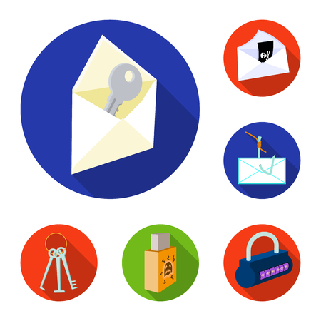 Hacker and hacking flat icons in set collection for design. Hacker and equipment bitmap symbol stock web illustration.