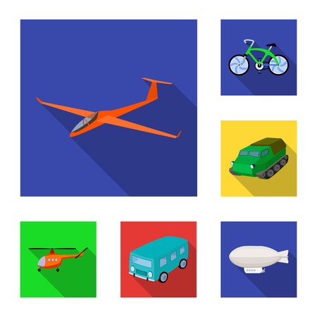 Different types of transport flat icons in set collection for design. Car and ship bitmap symbol stock web illustration. Archivio Fotografico - 106457305