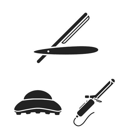 Hairdresser and tools black icons in set collection for design.Profession hairdresser bitmap symbol stock web illustration. Stock Illustration - 106457431