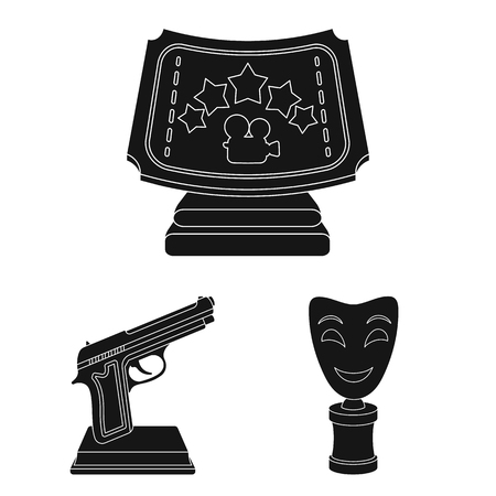 Film awards and prizes black icons in set collection for design. The World Film Academy bitmap symbol stock web illustration. Stockfoto