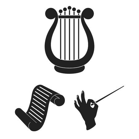 Theatrical art black icons in set collection for design.Theater equipment and accessories bitmap symbol stock web illustration.