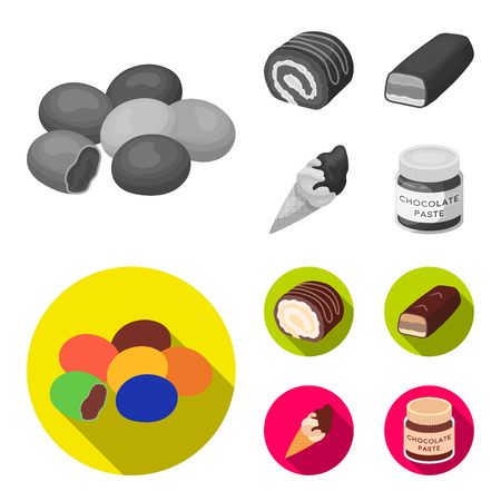 Dragee, roll, chocolate bar, ice cream. Chocolate desserts set collection icons in monochrome,flat style bitmap symbol stock illustration web.