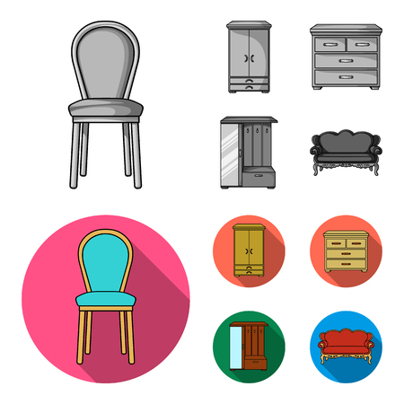Armchair, cabinet, bedside, table .Furniture and home interiorset collection icons in monochrome,flat style bitmap symbol stock illustration web.