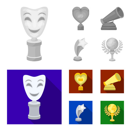 White Mask Mime for the best drama, a prize in the form of the heart and other prizes.Movie awards set collection icons in monochrome,flat style bitmap symbol stock illustration web.