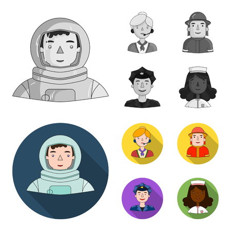An astronaut in a spacesuit, a co-worker with a microphone, a fireman in a helmet, a policeman with a badge on his cap. People of different professions set collection icons in monochrome,flat style bitmap symbol stock illustration web.