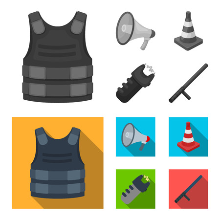 Bulletproof vest, megaphone, cone of fencing, electric shock. Police set collection icons in monochrome,flat style bitmap symbol stock illustration web.