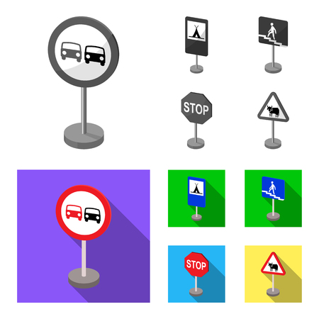 Different types of road signs monochrome,flat icons in set collection for design. Warning and prohibition signs bitmap symbol stock web illustration. Archivio Fotografico - 106457902