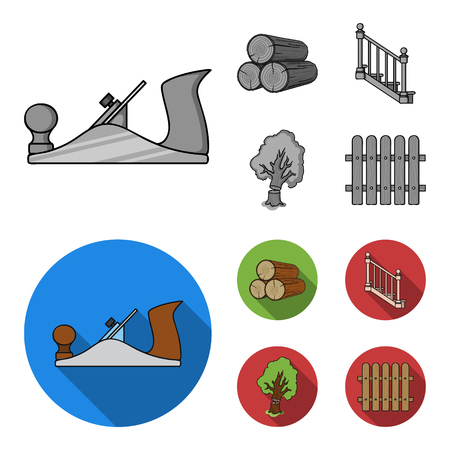 Logs in a stack, plane, tree, ladder with handrails. Sawmill and timber set collection icons in monochrome,flat style bitmap symbol stock illustration web. Reklamní fotografie
