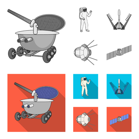 Lunokhod, space suit, rocket launch, artificial Earth satellite. Space technology set collection icons in monochrome,flat style bitmap symbol stock illustration web.
