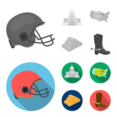 Football player helmet, capitol, territory map, gold and foreign exchange. USA Acountry set collection icons in monochrome,flat style bitmap symbol stock illustration web.