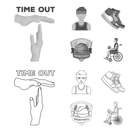 Basketball and attributes outline,monochrome icons in set collection for design.Basketball player and equipment bitmap symbol stock web illustration. 스톡 콘텐츠