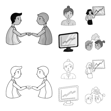 Businesswoman, growth charts, brainstorming.Business-conference and negotiations set collection icons in outline,monochrome style bitmap symbol stock illustration web.