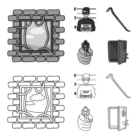 Photo of criminal, scrap, open safe, directional gun.Crime set collection icons in outline,monochrome style bitmap symbol stock illustration web. Stock Photo