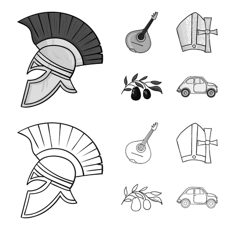Mandolin, papa, olive, retro auto.Italy country set collection icons in outline,monochrome style bitmap symbol stock illustration web.