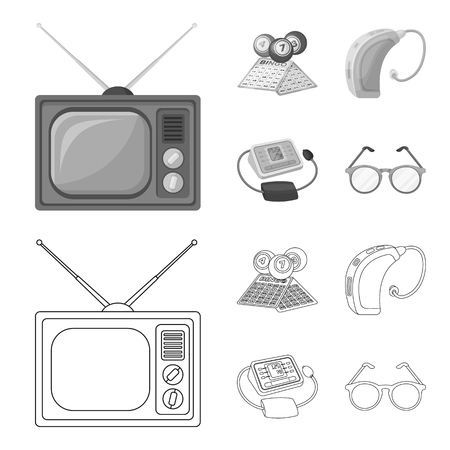 Lottery, hearing aid, tonometer, glasses.Old age set collection icons in outline,monochrome style bitmap symbol stock illustration web. Stock Photo