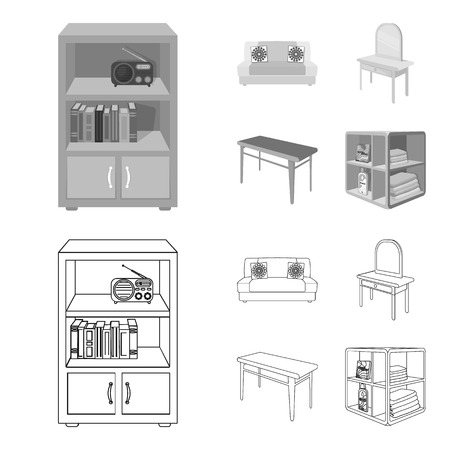 Soft sofa, toilet make-up table, dining table, shelving for laundry and detergent. Furniture and interior set collection icons in outline,monochrome style isometric bitmap symbol stock illustration web. Stock Photo