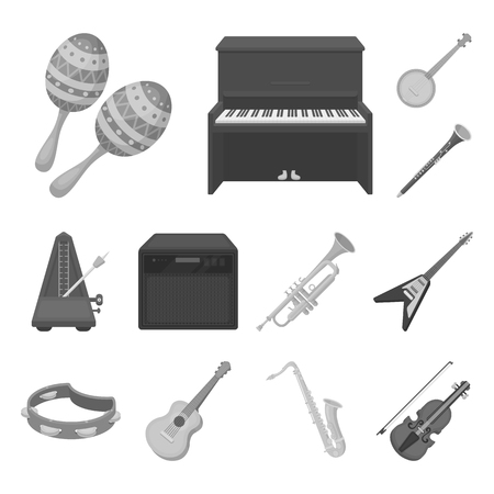 Musical instrument monochrome icons in set collection for design. String and Wind instrument bitmap symbol stock web illustration.