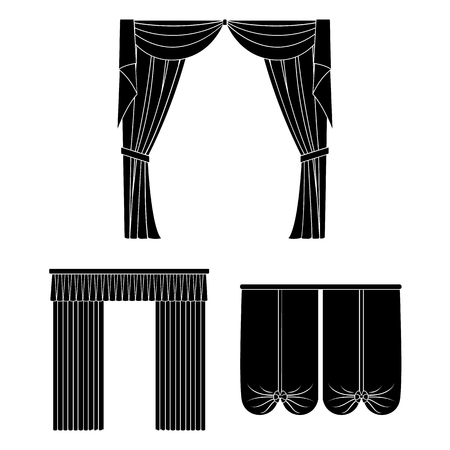 Different kinds of curtains black icons in set collection for design. Curtains and lambrequins vector symbol stock web illustration.  イラスト・ベクター素材