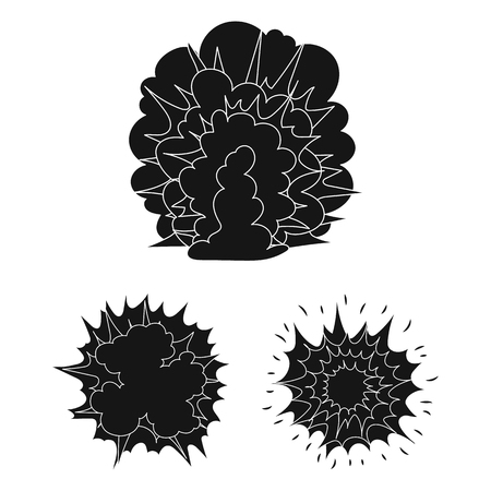 Different explosions black icons in set collection for design.Flash and flame vector symbol stock web illustration. Иллюстрация