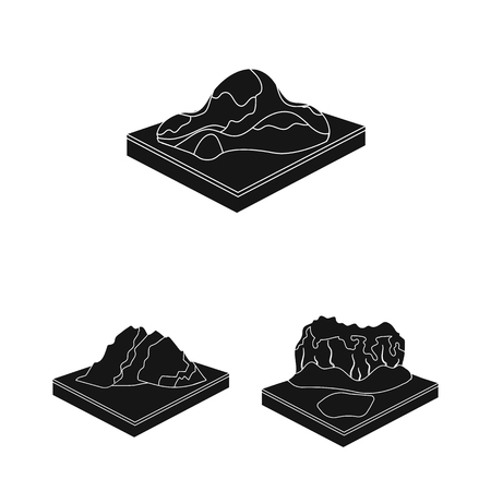 Mountains, massive black icons in set collection for design. The surface of the earth vector isometric symbol stock web illustration. Foto de archivo - 106513351