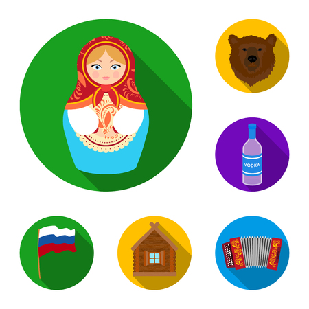 Country Russia, travel flat icons in set collection for design. Attractions and features vector symbol stock web illustration. Ilustração