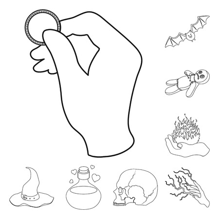 Black and white magic outline icons in set collection for design. Attributes and sorceress accessories vector symbol stock web illustration.