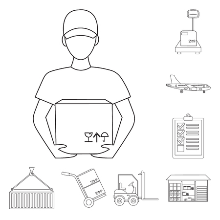Logistics service outline icons in set collection for design. Logistics and equipment vector symbol stock web illustration. Stock Illustratie
