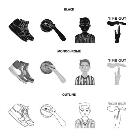 Baloncesto y atributos negro, monocromo, iconos de contorno de colección set de diseño.Jugador de baloncesto y equipo vector símbolo stock web ilustración.