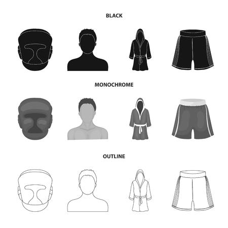 Boxe, sport, masque, casque., Boxe, ensemble, collection, icônes, dans, noir, monochrome, contour, style, vecteur, symbole, stockage, illustration, web.