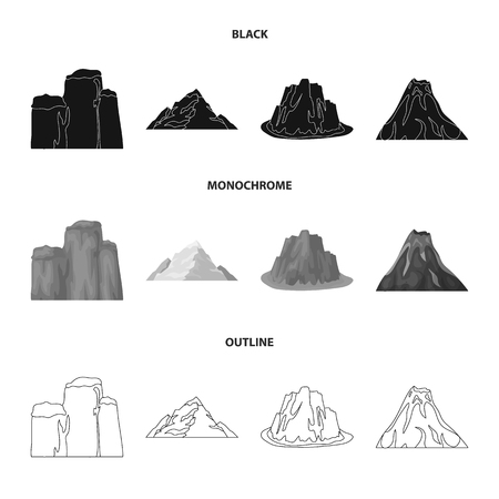 Sheer cliffs, a volcanic eruption, a mountain with a beach, a glacier. Different mountains set collection icons in black,monochrome,outline style vector symbol stock illustration web.