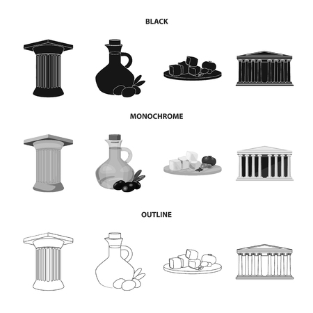Greece, country, tradition, landmark .Greece set collection icons in black,monochrome,outline style vector symbol stock illustration web.