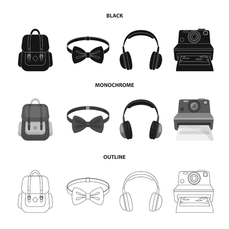Hipster, fashion, style, subculture .Hipster style set collection icons in black,monochrome,outline style vector symbol stock illustration web.