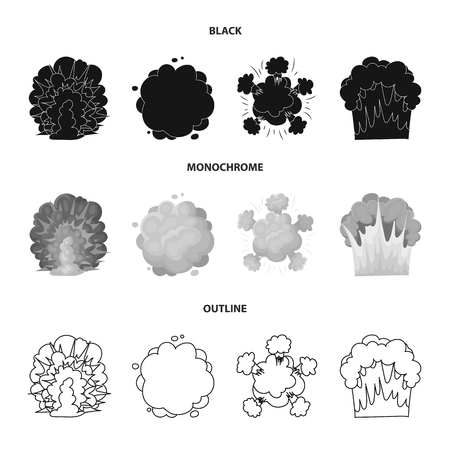Flame, sparks, hydrogen fragments, atomic or gas explosion. Explosions set collection icons in black,monochrome,outline style vector symbol stock illustration web.