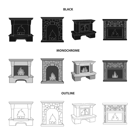 Fire, warmth and comfort.Fireplace set collection icons in black,monochrome,outline style vector symbol stock illustration web. Ilustração