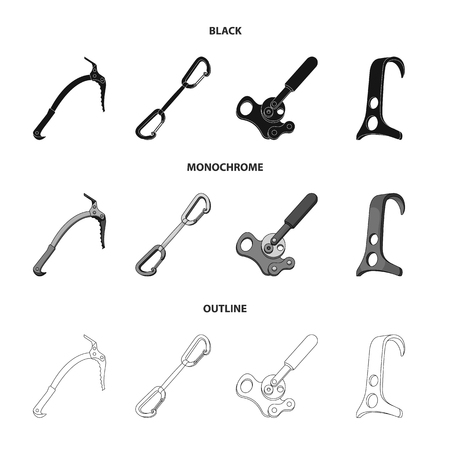 An ice ax, a carbine and other equipment.Mountaineering set collection icons in black,monochrome,outline style vector symbol stock illustration web.
