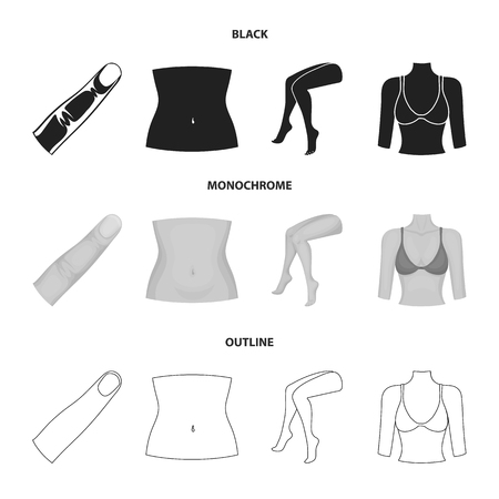 Finger, female feet, female, bust. Part of the body set collection icons in black,monochrome,outline style vector symbol stock illustration web. Иллюстрация