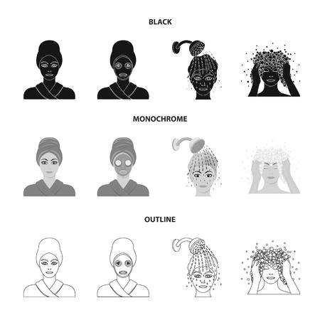 Ręce, higiena, kosmetologia i inne ikony sieci web w stylu konspektu w kolorze czarnym, monochromatycznym. Kąpiel, ubrania, oznacza ikony w kolekcji zestawu.