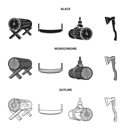 Log on supports, two-hand saw, ax, raising logs. Sawmill and timber set collection icons in black,monochrome,outline style vector symbol stock illustration web. Ilustrace