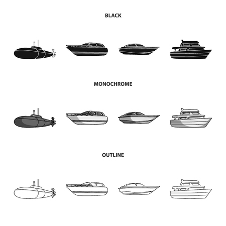 A military submarine, a speedboat, a pleasure boat and a spirit boat.Ships and water transport set collection icons in black,monochrome,outline style vector symbol stock illustration web. Vettoriali