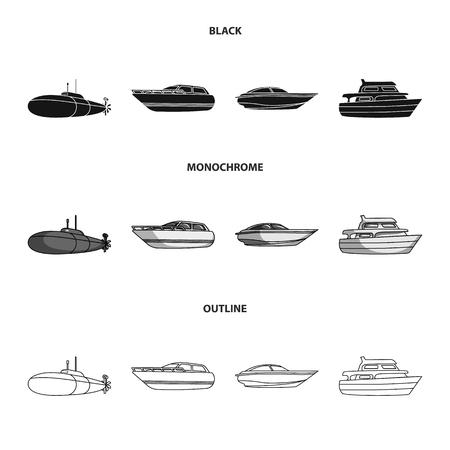 Un sottomarino militare, un motoscafo, una barca da diporto e una barca dello spirito. Le navi e il trasporto dell'acqua hanno messo le icone dell'accumulazione nel web nero, monocromatico, dell'illustrazione delle azione di simbolo di vettore di stile