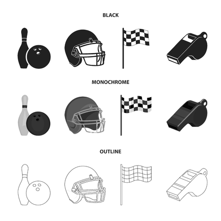 Bowl and bowling pin for bowling, protective helmet for playing baseball, checkbox, referee, whistle for coach or referee. Sport set collection icons in black,monochrome,outline style vector symbol stock illustration web.