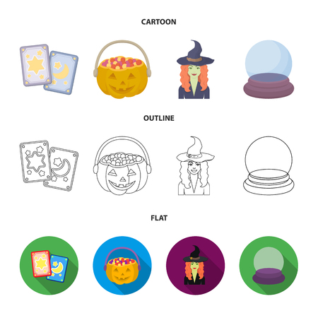 Tarot cards, holiday halloween, magician in a hat, crystal ball. Black and white magic set collection icons in cartoon,outline,flat style vector symbol stock illustration web. Illustration