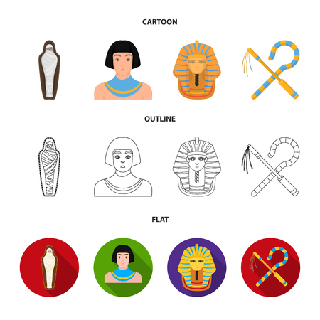 Crook and flail,a golden mask, an egyptian, a mummy in a tomb.Ancient Egypt set collection icons in cartoon,outline,flat style vector symbol stock illustration web. Ilustração