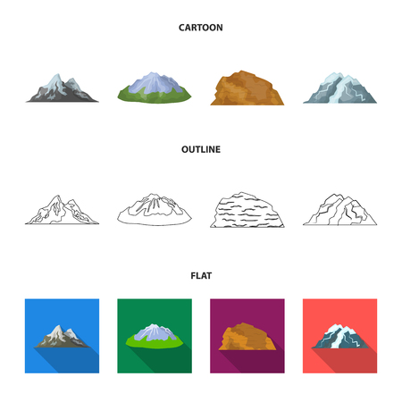Mountains in the desert, a snowy peak, an island with a glacier, a snow-capped mountain. Different mountains set collection icons in cartoon,outline,flat style vector symbol stock illustration web.