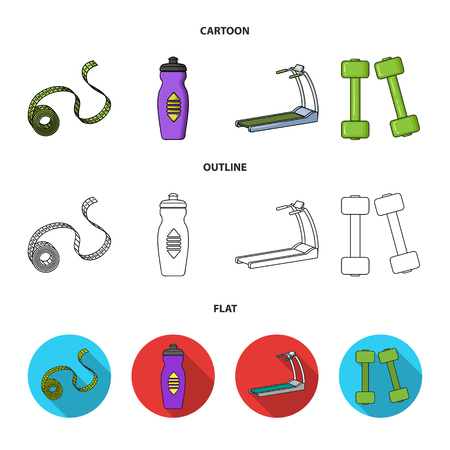 Measuring tape, water bottle, treadmill, dumbbells. Fitnes set collection icons in cartoon,outline,flat style vector symbol stock illustration web. Stock Illustratie