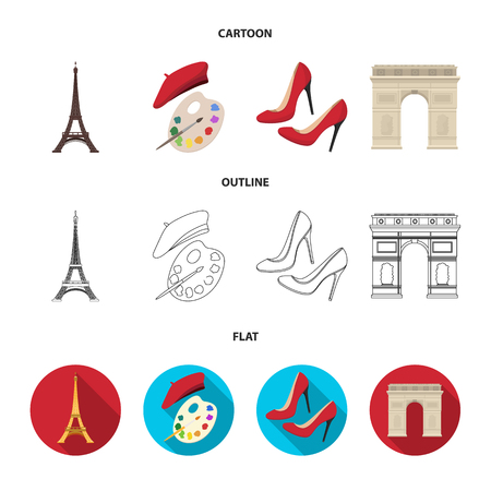Eiffel tower, brush, hat .France country set collection icons in cartoon,outline,flat style vector symbol stock illustration web. Illustration