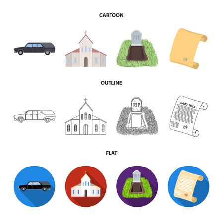 Black cadillac to transport the grave of the deceased, a church for a funeral ceremony, a grave with a tombstone, a death certificate. Funeral ceremony set collection icons in cartoon,outline,flat style vector symbol stock illustration web. Illustration