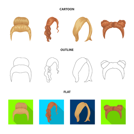 Blond with a bunch, red wavy and other types of hair. Back hair set collection icons in cartoon,outline,flat style vector symbol stock illustration web.